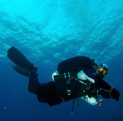 Diver in Croatia during Deco Stop by Andy Kutsch 